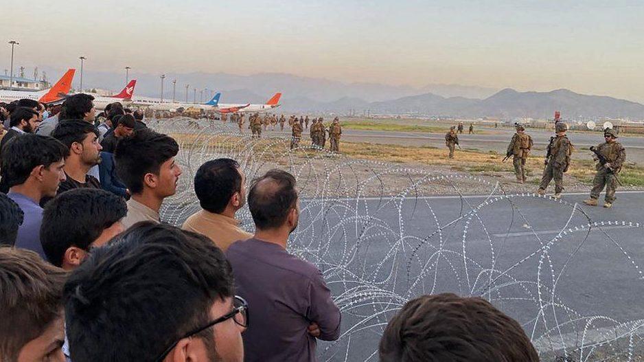 Evacuees at Kabul airport